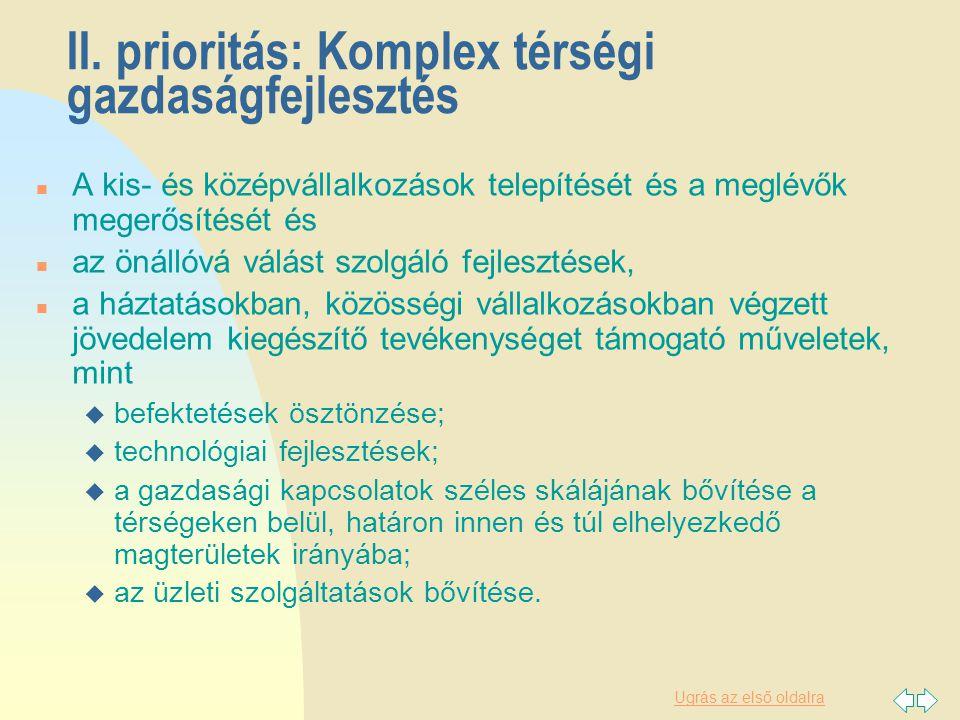Ugrás az első oldalra II. prioritás: Komplex térségi gazdaságfejlesztés n A kis- és középvállalkozások telepítését és a meglévők megerősítését és n az