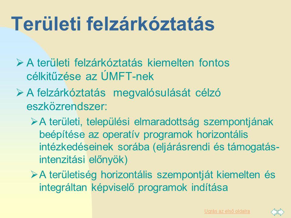 Ugrás az első oldalra Területi felzárkóztatás  A területi felzárkóztatás kiemelten fontos célkitűzése az ÚMFT-nek  A felzárkóztatás megvalósulását célzó eszközrendszer:  A területi, települési elmaradottság szempontjának beépítése az operatív programok horizontális intézkedéseinek sorába (eljárásrendi és támogatás- intenzitási előnyök)  A területiség horizontális szempontját kiemelten és integráltan képviselő programok indítása