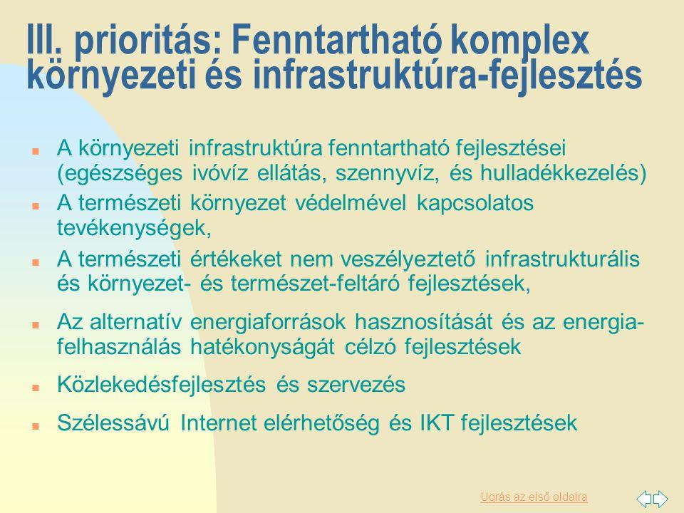 Ugrás az első oldalra III. prioritás: Fenntartható komplex környezeti és infrastruktúra-fejlesztés n A környezeti infrastruktúra fenntartható fejleszt