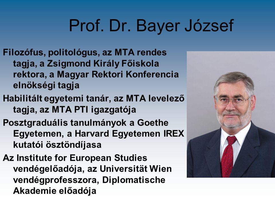 Prof. Dr. Bayer József Filozófus, politológus, az MTA rendes tagja, a Zsigmond Király Főiskola rektora, a Magyar Rektori Konferencia elnökségi tagja H