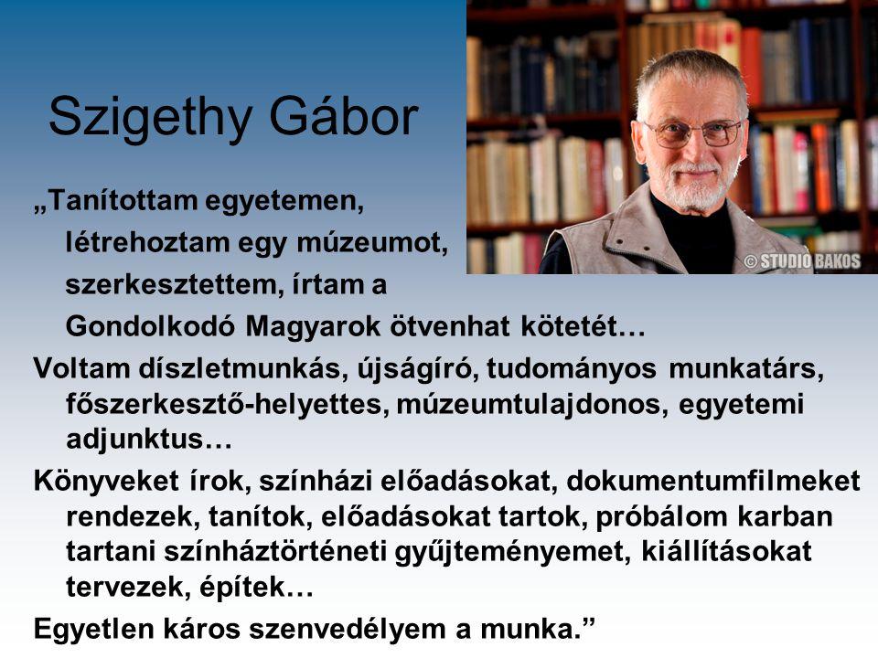 """Szigethy Gábor """"Tanítottam egyetemen, létrehoztam egy múzeumot, szerkesztettem, írtam a Gondolkodó Magyarok ötvenhat kötetét… Voltam díszletmunkás, új"""