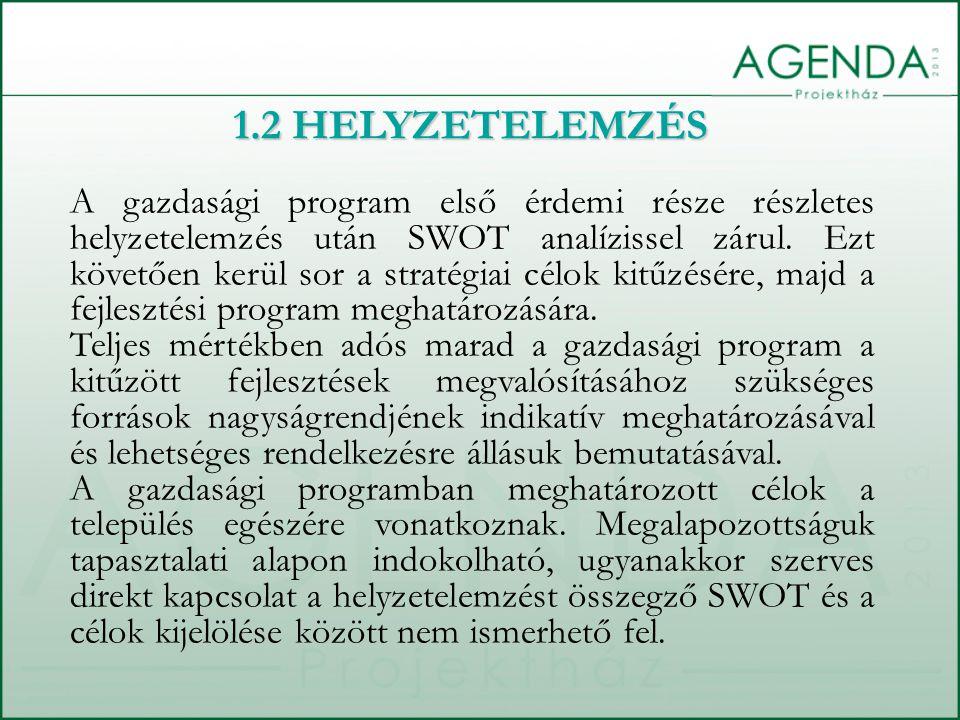 A gazdasági program első érdemi része részletes helyzetelemzés után SWOT analízissel zárul. Ezt követően kerül sor a stratégiai célok kitűzésére, majd