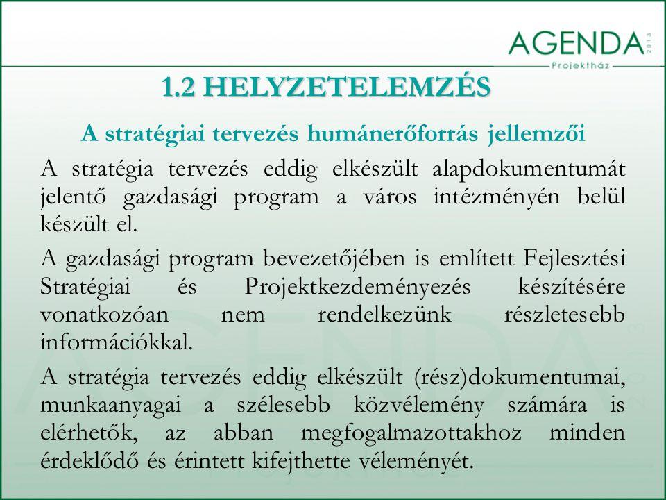 A stratégiai tervezés humánerőforrás jellemzői A stratégia tervezés eddig elkészült alapdokumentumát jelentő gazdasági program a város intézményén bel
