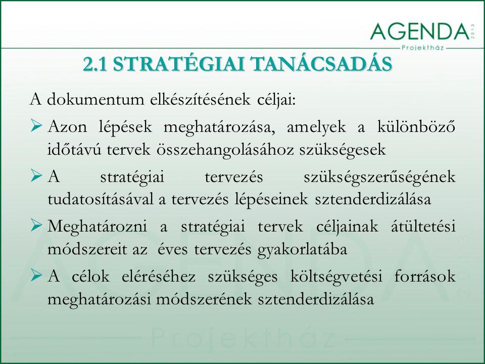 A dokumentum elkészítésének céljai:  Azon lépések meghatározása, amelyek a különböző időtávú tervek összehangolásához szükségesek  A stratégiai tervezés szükségszerűségének tudatosításával a tervezés lépéseinek sztenderdizálása  Meghatározni a stratégiai tervek céljainak átültetési módszereit az éves tervezés gyakorlatába  A célok eléréséhez szükséges költségvetési források meghatározási módszerének sztenderdizálása 2.1 STRATÉGIAI TANÁCSADÁS