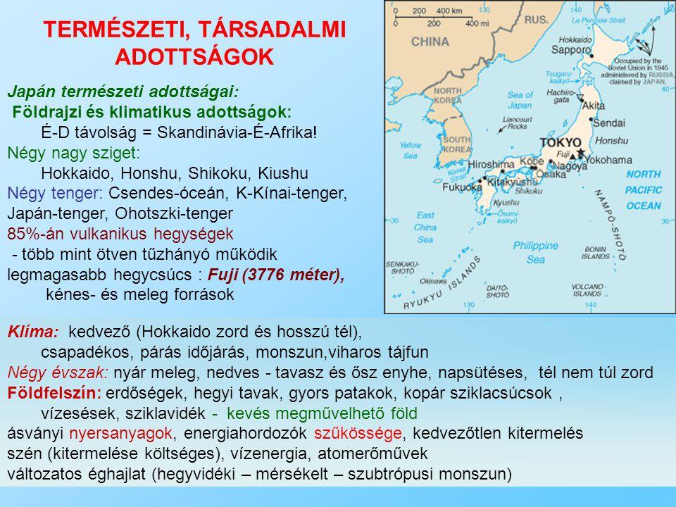 2 TERMÉSZETI, TÁRSADALMI ADOTTSÁGOK Japán természeti adottságai: Földrajzi és klimatikus adottságok: É-D távolság = Skandinávia-É-Afrika! Négy nagy sz
