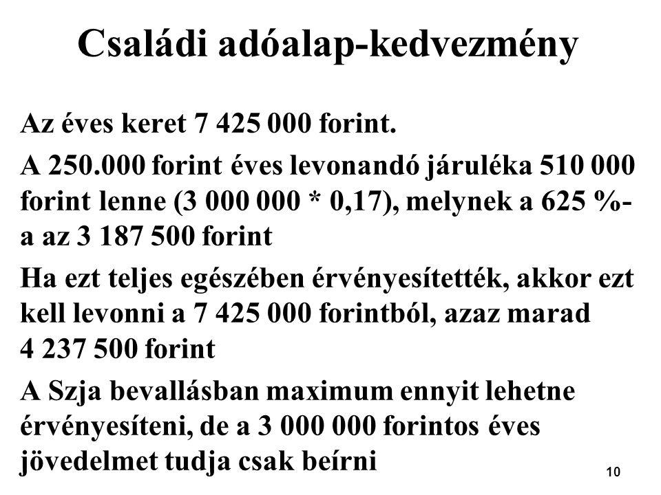 10 Családi adóalap-kedvezmény Az éves keret 7 425 000 forint. A 250.000 forint éves levonandó járuléka 510 000 forint lenne (3 000 000 * 0,17), melyne