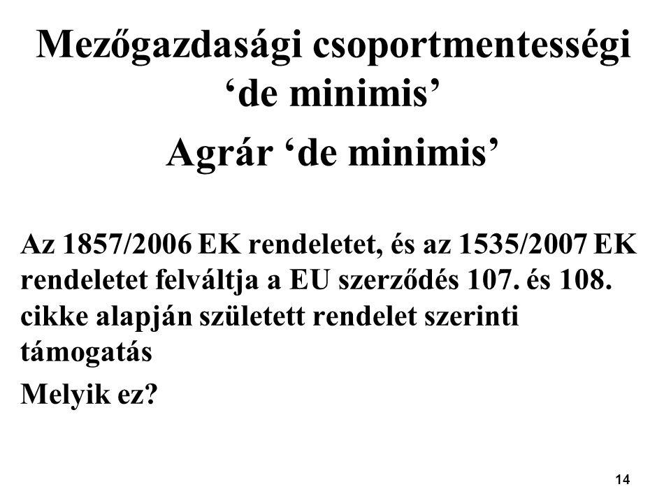 14 Mezőgazdasági csoportmentességi 'de minimis' Agrár 'de minimis' Az 1857/2006 EK rendeletet, és az 1535/2007 EK rendeletet felváltja a EU szerződés