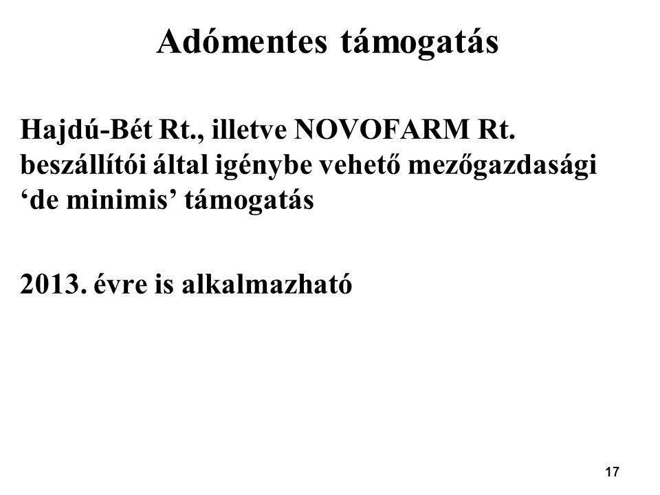 17 Adómentes támogatás Hajdú-Bét Rt., illetve NOVOFARM Rt. beszállítói által igénybe vehető mezőgazdasági 'de minimis' támogatás 2013. évre is alkalma