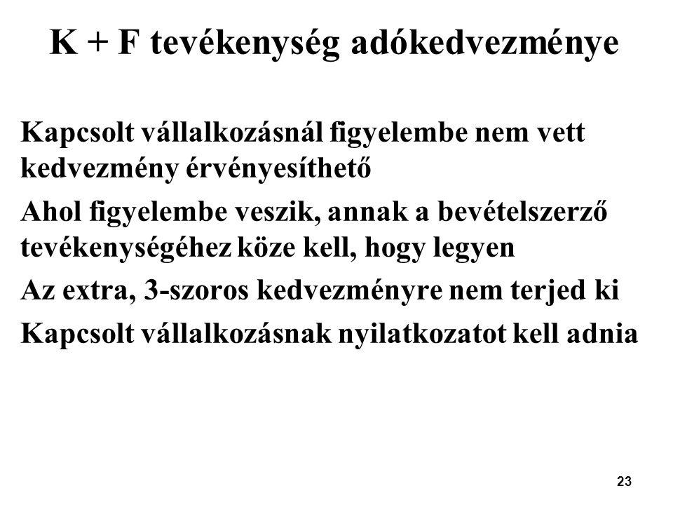 23 K + F tevékenység adókedvezménye Kapcsolt vállalkozásnál figyelembe nem vett kedvezmény érvényesíthető Ahol figyelembe veszik, annak a bevételszerz