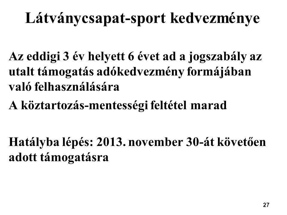 27 Látványcsapat-sport kedvezménye Az eddigi 3 év helyett 6 évet ad a jogszabály az utalt támogatás adókedvezmény formájában való felhasználására A kö