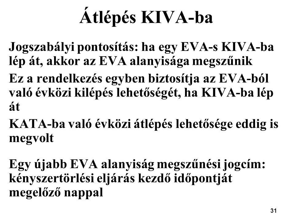 31 Átlépés KIVA-ba Jogszabályi pontosítás: ha egy EVA-s KIVA-ba lép át, akkor az EVA alanyisága megszűnik Ez a rendelkezés egyben biztosítja az EVA-bó