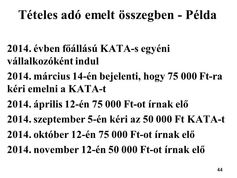 44 Tételes adó emelt összegben - Példa 2014. évben főállású KATA-s egyéni vállalkozóként indul 2014. március 14-én bejelenti, hogy 75 000 Ft-ra kéri e