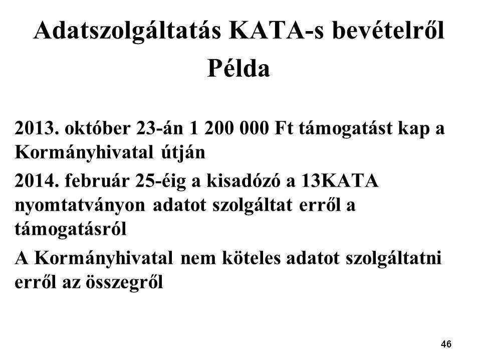 46 Adatszolgáltatás KATA-s bevételről Példa 2013. október 23-án 1 200 000 Ft támogatást kap a Kormányhivatal útján 2014. február 25-éig a kisadózó a 1