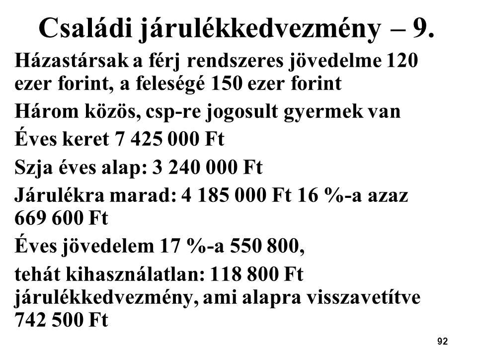 92 Családi járulékkedvezmény – 9. Házastársak a férj rendszeres jövedelme 120 ezer forint, a feleségé 150 ezer forint Három közös, csp-re jogosult gye