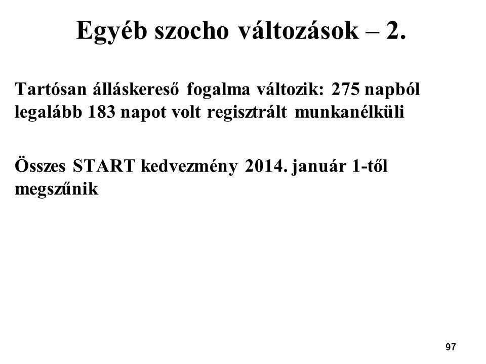 97 Egyéb szocho változások – 2. Tartósan álláskereső fogalma változik: 275 napból legalább 183 napot volt regisztrált munkanélküli Összes START kedvez