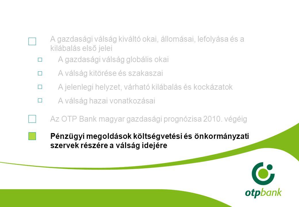 A gazdasági válság globális okai A válság kitörése és szakaszai A jelenlegi helyzet, várható kilábalás és kockázatok A válság hazai vonatkozásai A gazdasági válság kiváltó okai, állomásai, lefolyása és a kilábalás első jelei Az OTP Bank magyar gazdasági prognózisa 2010.