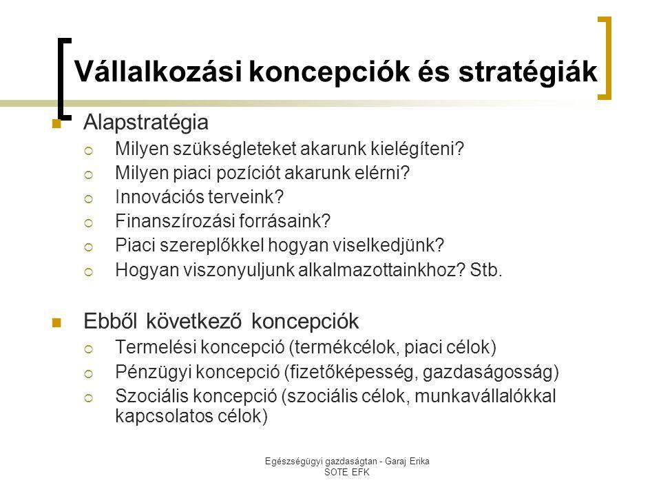 Egészségügyi gazdaságtan - Garaj Erika SOTE EFK Vállalkozási koncepciók és stratégiák  Alapstratégia  Milyen szükségleteket akarunk kielégíteni?  M