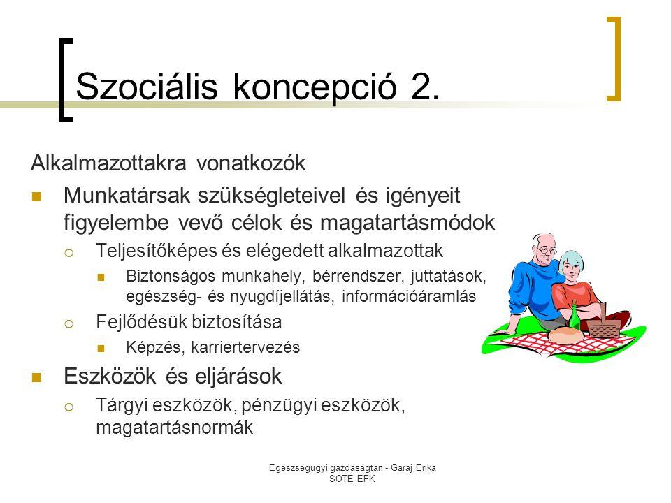 Egészségügyi gazdaságtan - Garaj Erika SOTE EFK Szociális koncepció 2. Alkalmazottakra vonatkozók  Munkatársak szükségleteivel és igényeit figyelembe