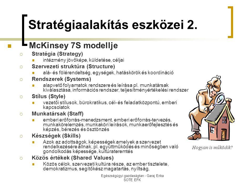 Egészségügyi gazdaságtan - Garaj Erika SOTE EFK Stratégiaalakítás eszközei 2.  McKinsey 7S modellje  Stratégia (Strategy)  intézmény jövőképe, küld