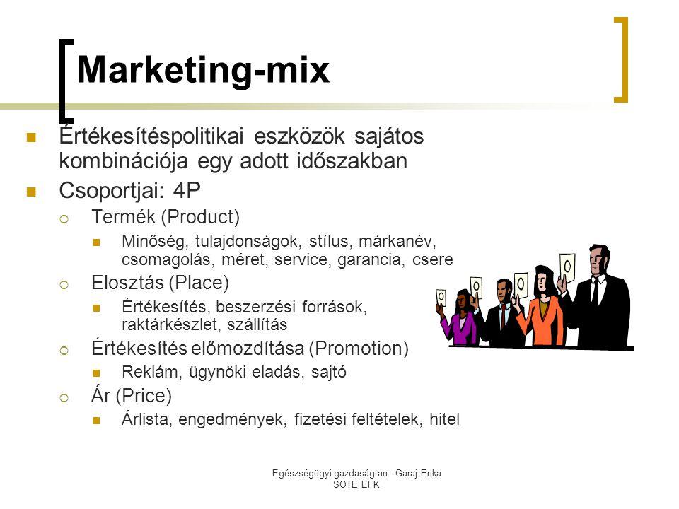 Egészségügyi gazdaságtan - Garaj Erika SOTE EFK Marketing-mix  Értékesítéspolitikai eszközök sajátos kombinációja egy adott időszakban  Csoportjai: 4P  Termék (Product)  Minőség, tulajdonságok, stílus, márkanév, csomagolás, méret, service, garancia, csere  Elosztás (Place)  Értékesítés, beszerzési források, raktárkészlet, szállítás  Értékesítés előmozdítása (Promotion)  Reklám, ügynöki eladás, sajtó  Ár (Price)  Árlista, engedmények, fizetési feltételek, hitel