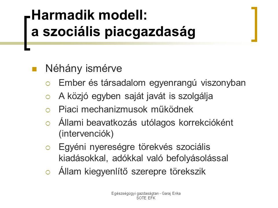 Egészségügyi gazdaságtan - Garaj Erika SOTE EFK Harmadik modell: a szociális piacgazdaság  Néhány ismérve  Ember és társadalom egyenrangú viszonyban  A közjó egyben saját javát is szolgálja  Piaci mechanizmusok működnek  Állami beavatkozás utólagos korrekcióként (intervenciók)  Egyéni nyereségre törekvés szociális kiadásokkal, adókkal való befolyásolással  Állam kiegyenlítő szerepre törekszik