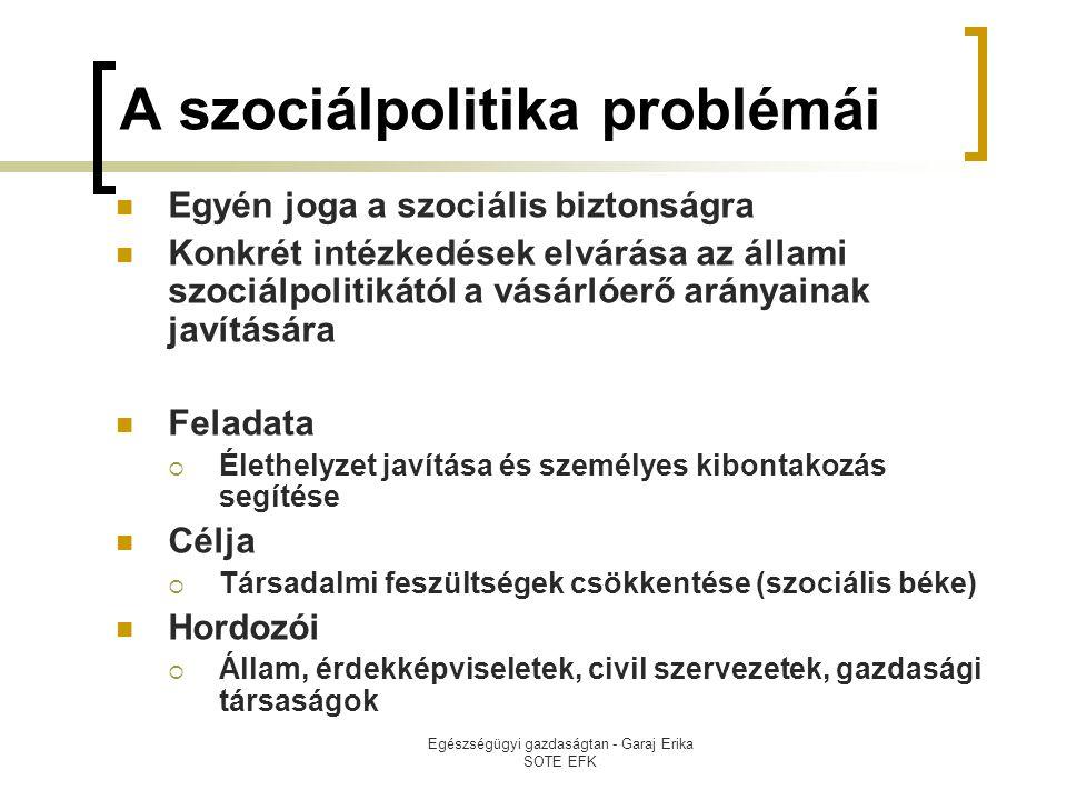 Egészségügyi gazdaságtan - Garaj Erika SOTE EFK A szociálpolitika problémái  Egyén joga a szociális biztonságra  Konkrét intézkedések elvárása az állami szociálpolitikától a vásárlóerő arányainak javítására  Feladata  Élethelyzet javítása és személyes kibontakozás segítése  Célja  Társadalmi feszültségek csökkentése (szociális béke)  Hordozói  Állam, érdekképviseletek, civil szervezetek, gazdasági társaságok