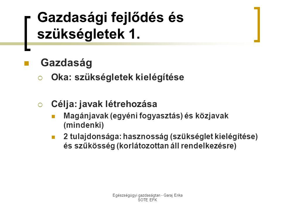 Egészségügyi gazdaságtan - Garaj Erika SOTE EFK Gazdasági fejlődés és szükségletek 1.  Gazdaság  Oka: szükségletek kielégítése  Célja: javak létreh