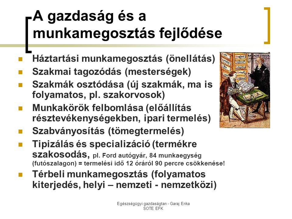 Egészségügyi gazdaságtan - Garaj Erika SOTE EFK A gazdaság és a munkamegosztás fejlődése  Háztartási munkamegosztás (önellátás)  Szakmai tagozódás (mesterségek)  Szakmák osztódása (új szakmák, ma is folyamatos, pl.