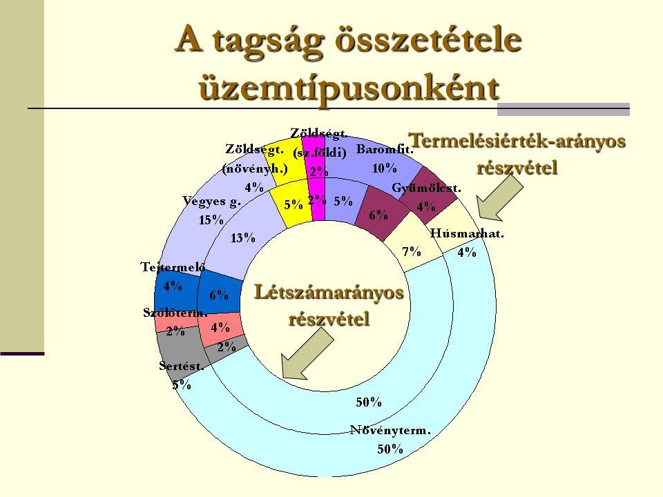 A tagság összetétele üzemtípusonként Létszámarányos részvétel Termelésiérték-arányos részvétel