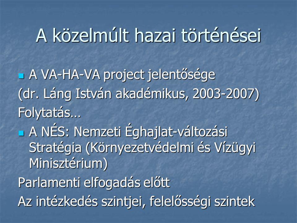 A közelmúlt hazai történései  A VA-HA-VA project jelentősége (dr. Láng István akadémikus, 2003-2007) Folytatás…  A NÉS: Nemzeti Éghajlat-változási S