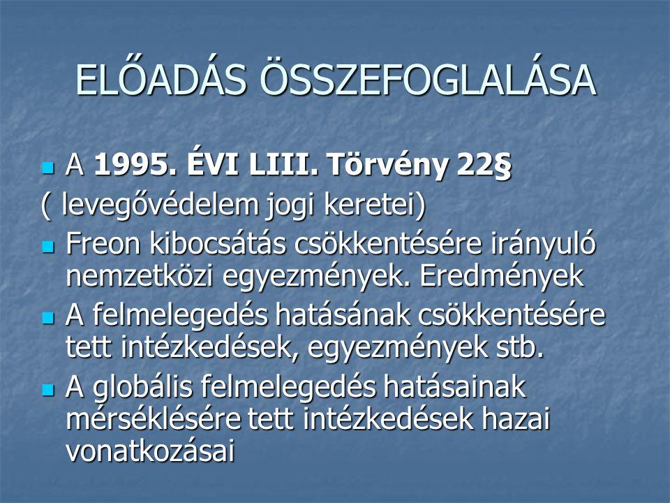 ELŐADÁS ÖSSZEFOGLALÁSA  A 1995. ÉVI LIII. Törvény 22§ ( levegővédelem jogi keretei)  Freon kibocsátás csökkentésére irányuló nemzetközi egyezmények.