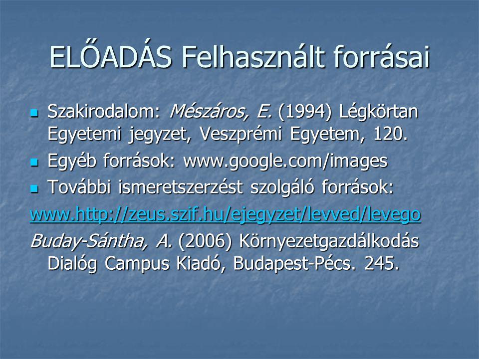 ELŐADÁS Felhasznált forrásai  Szakirodalom: Mészáros, E. (1994) Légkörtan Egyetemi jegyzet, Veszprémi Egyetem, 120.  Egyéb források: www.google.com/