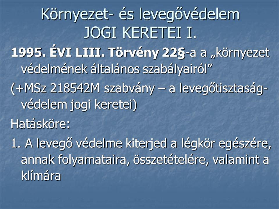 """Környezet- és levegővédelem JOGI KERETEI I. 1995. ÉVI LIII. Törvény 22§-a a """"környezet védelmének általános szabályairól"""" (+MSz 218542M szabvány – a l"""