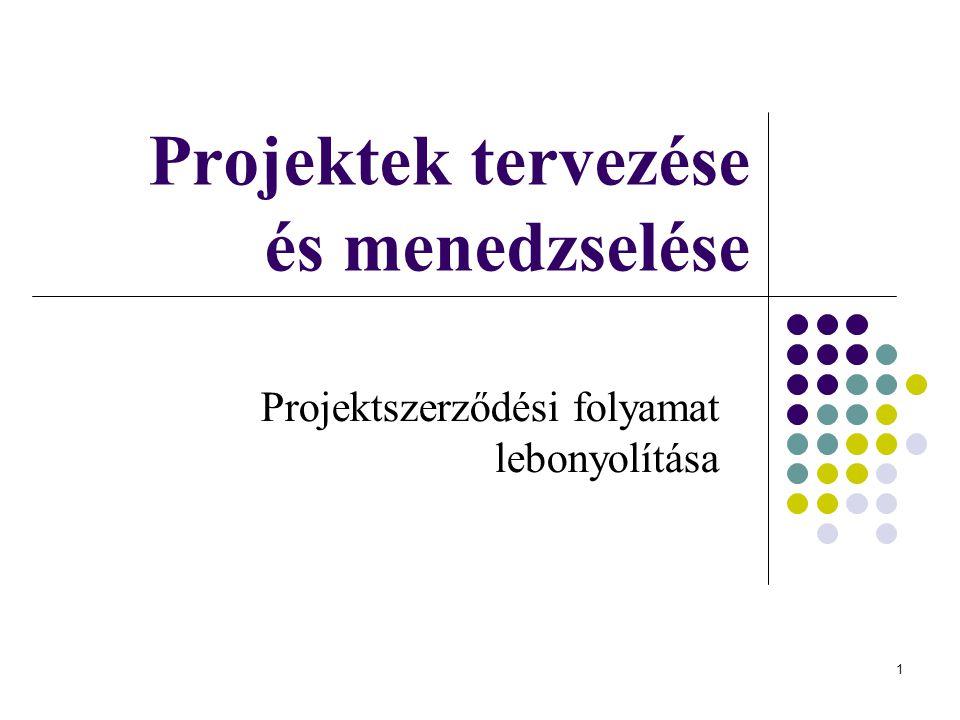 1 Projektek tervezése és menedzselése Projektszerződési folyamat lebonyolítása