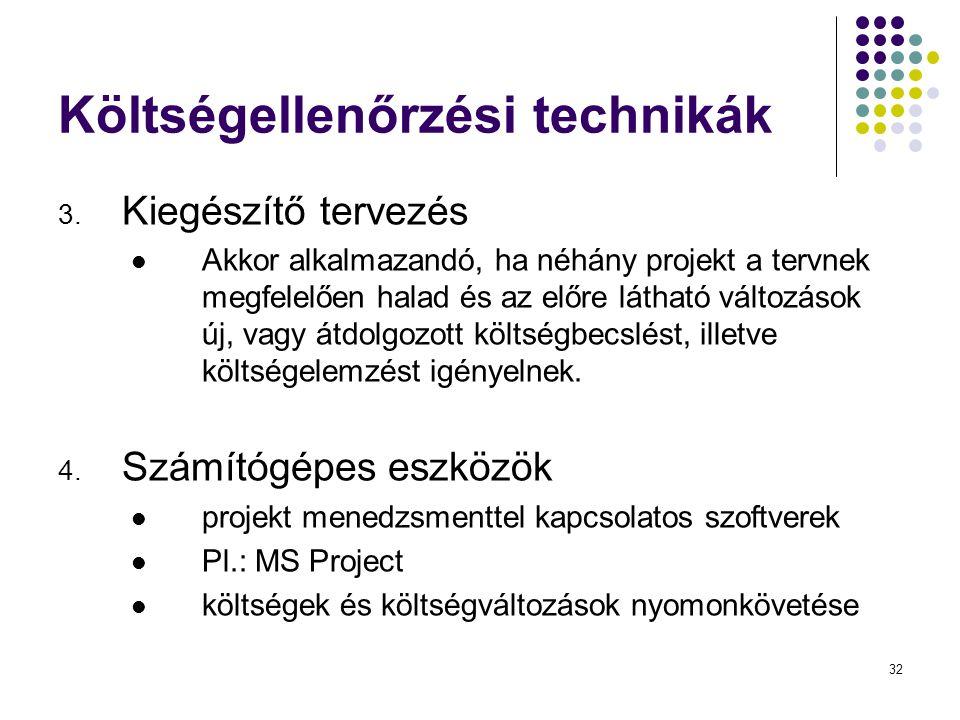 32 Költségellenőrzési technikák 3. Kiegészítő tervezés  Akkor alkalmazandó, ha néhány projekt a tervnek megfelelően halad és az előre látható változá