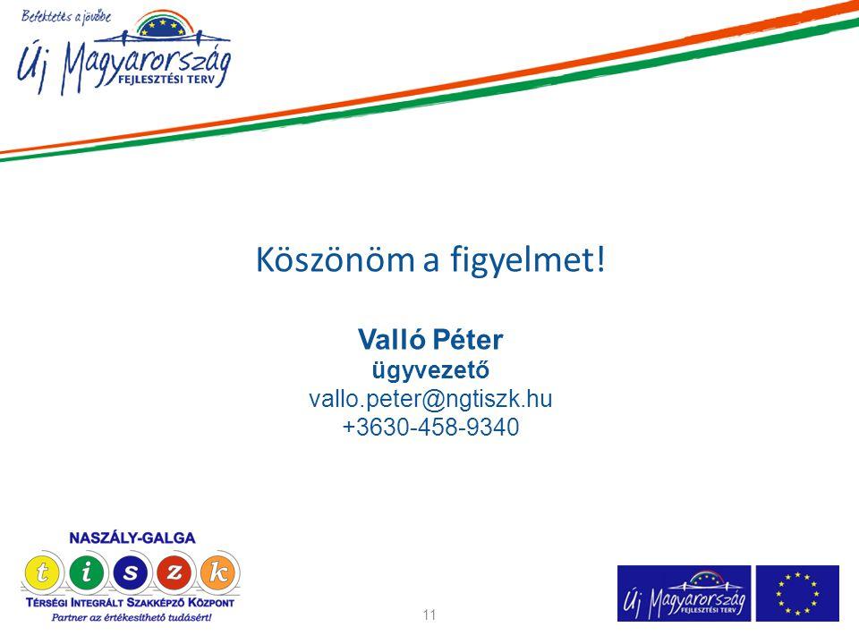 Köszönöm a figyelmet! Valló Péter ügyvezető vallo.peter@ngtiszk.hu +3630-458-9340 11