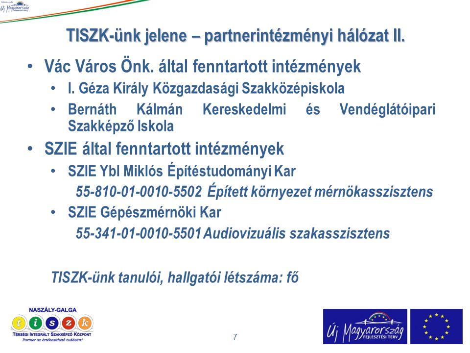 TISZK-ünk jelene – partnerintézményi hálózat II. 7 • Vác Város Önk. által fenntartott intézmények • I. Géza Király Közgazdasági Szakközépiskola • Bern