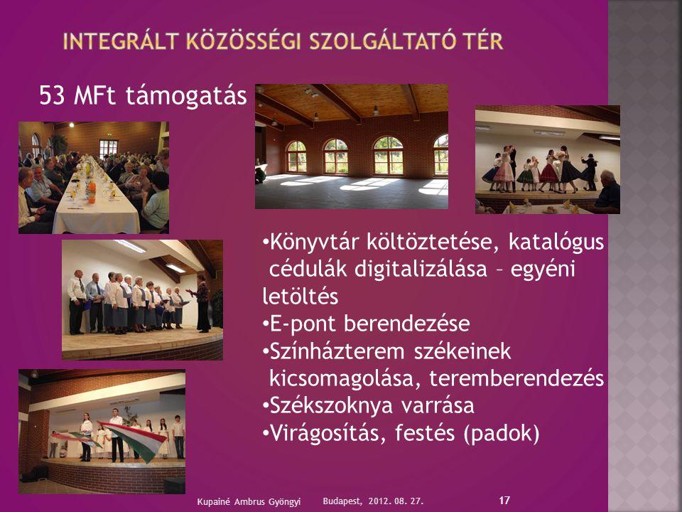 17 53 MFt támogatás Budapest, 2012. 08. 27.