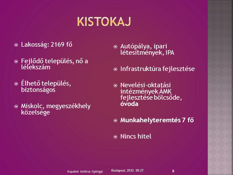 8  Lakosság: 2169 fő  Fejlődő település, nő a lélekszám  Élhető település, biztonságos  Miskolc, megyeszékhely közelsége  Autópálya, ipari létesítmények, IPA  Infrastruktúra fejlesztése  Nevelési-oktatási intézmények ÁMK fejlesztése bölcsőde, óvoda  Munkahelyteremtés 7 fő  Nincs hitel Budapest, 2012.