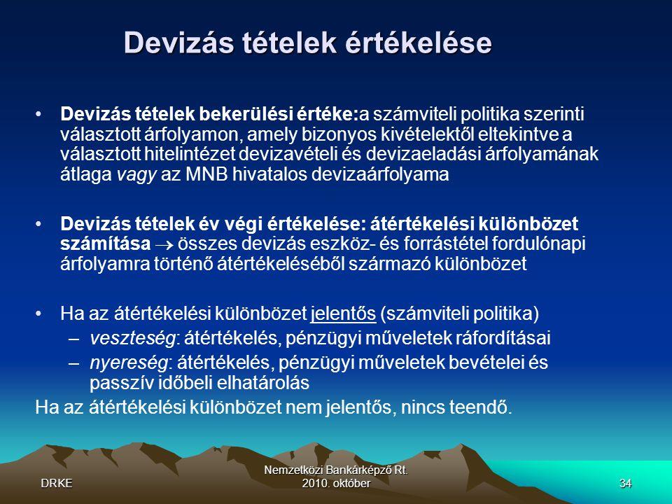 DRKE Nemzetközi Bankárképző Rt. 2010. október34 Devizás tételek értékelése •Devizás tételek bekerülési értéke:a számviteli politika szerinti választot