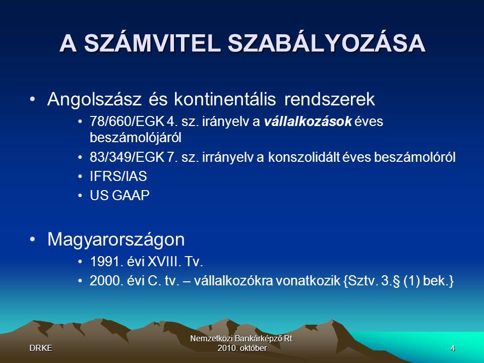 DRKE Nemzetközi Bankárképző Rt. 2010. október4 A SZÁMVITEL SZABÁLYOZÁSA •Angolszász és kontinentális rendszerek •78/660/EGK 4. sz. irányelv a vállalko