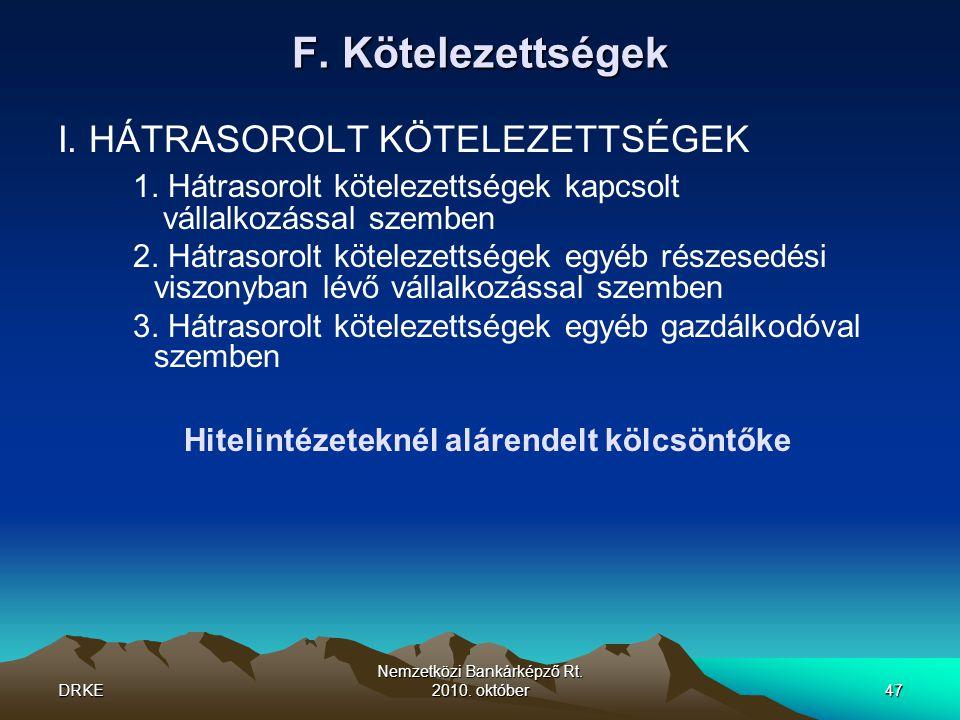 DRKE Nemzetközi Bankárképző Rt. 2010. október47 F. Kötelezettségek I. HÁTRASOROLT KÖTELEZETTSÉGEK 1. Hátrasorolt kötelezettségek kapcsolt vállalkozáss