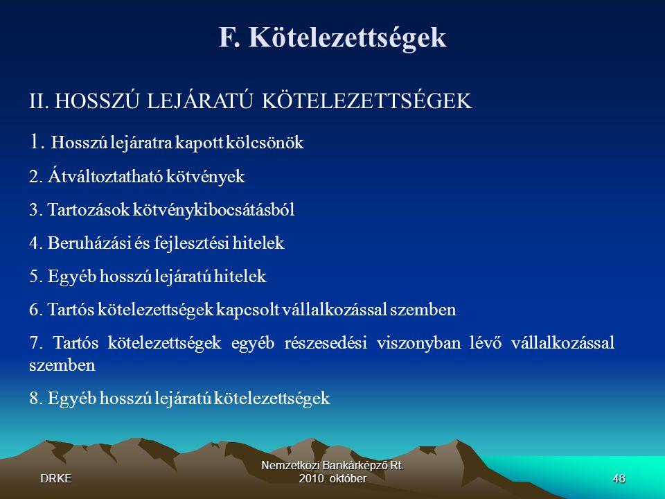 DRKE Nemzetközi Bankárképző Rt. 2010. október48 F. Kötelezettségek II. HOSSZÚ LEJÁRATÚ KÖTELEZETTSÉGEK 1. Hosszú lejáratra kapott kölcsönök 2. Átválto