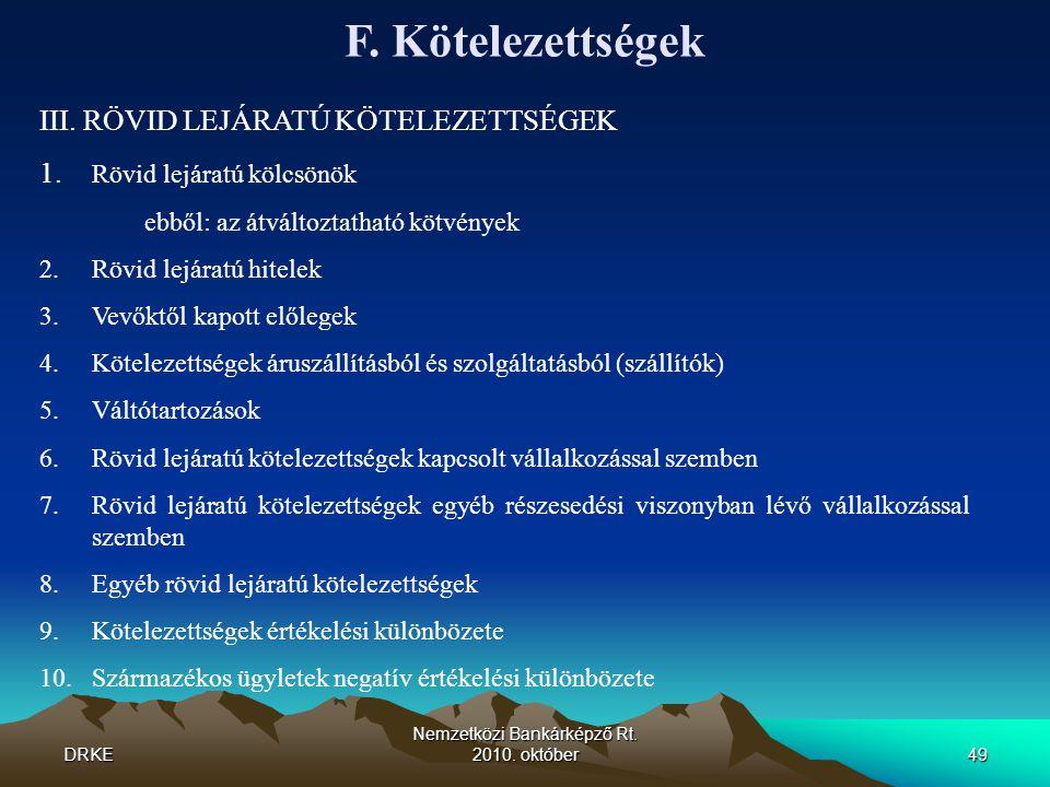 DRKE Nemzetközi Bankárképző Rt. 2010. október49 F. Kötelezettségek III. RÖVID LEJÁRATÚ KÖTELEZETTSÉGEK 1. Rövid lejáratú kölcsönök ebből: az átváltozt