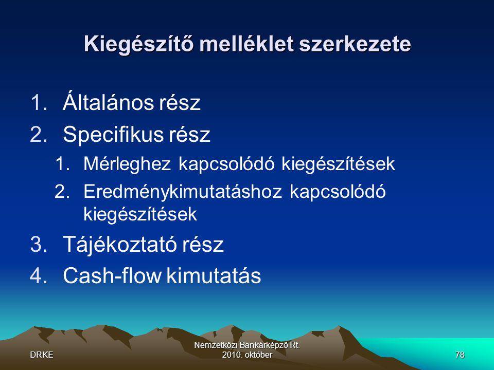 DRKE Nemzetközi Bankárképző Rt. 2010. október78 Kiegészítő melléklet szerkezete 1.Általános rész 2.Specifikus rész 1.Mérleghez kapcsolódó kiegészítése