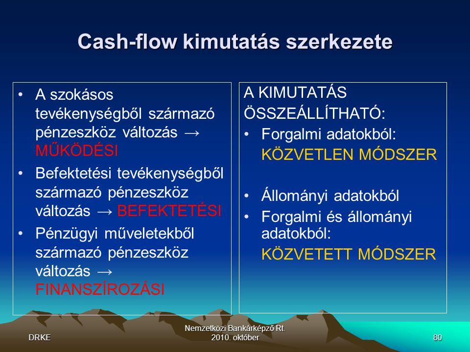 DRKE Nemzetközi Bankárképző Rt. 2010. október80 Cash-flow kimutatás szerkezete •A szokásos tevékenységből származó pénzeszköz változás → MŰKÖDÉSI •Bef