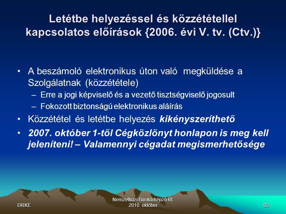 DRKE Nemzetközi Bankárképző Rt. 2010. október83 Letétbe helyezéssel és közzététellel kapcsolatos előírások {2006. évi V. tv. (Ctv.)} •A beszámoló elek