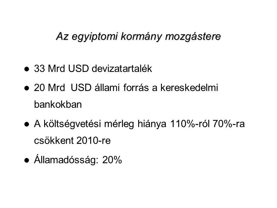 7 Az egyiptomi kormány mozgástere  33 Mrd USD devizatartalék  20 Mrd USD állami forrás a kereskedelmi bankokban  A költségvetési mérleg hiánya 110%-ról 70%-ra csökkent 2010-re  Államadósság: 20%