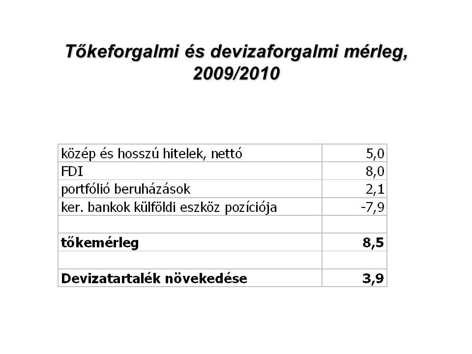 9 Tőkeforgalmi és devizaforgalmi mérleg, 2009/2010