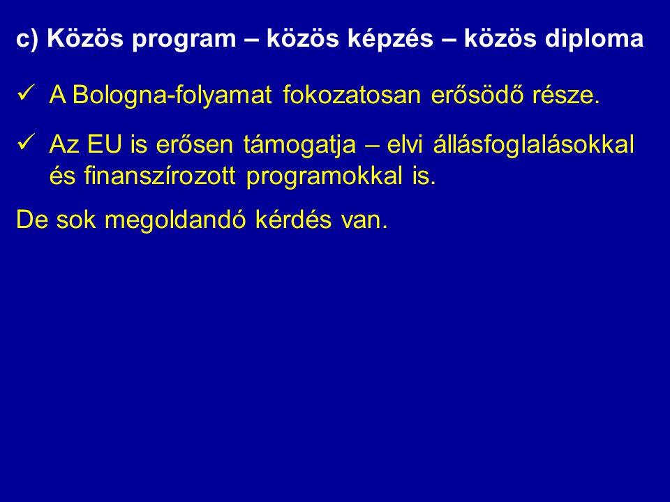 c) Közös program – közös képzés – közös diploma  A Bologna-folyamat fokozatosan erősödő része.  Az EU is erősen támogatja – elvi állásfoglalásokkal